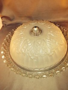 Vintage Glass Beige and Clear Glass Ceiling Light Fixture Lamp Shade Globe Cover
