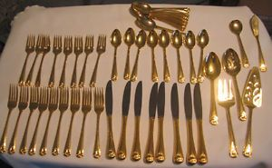 ... 1847 Rogers Bros Gold Plated Flatware Set 48 Pieces Serves 8 Excellent Cond ... & Rogers Co Stainless Gold Plated Flatware Set Knife Spoon Forks Korea ...