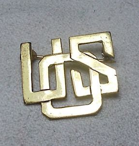 WW2 Sterling Silver Gold Plated USO United Service Organization Uniform Pin S