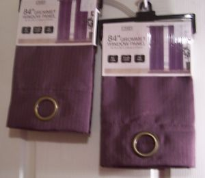 CHD 2 Packages Grommet Window Panel Curtains 40 x 84 New Purple