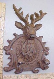 Deer Buck Antler Elk Coat Hook 5x7 Cast Iron Hunting