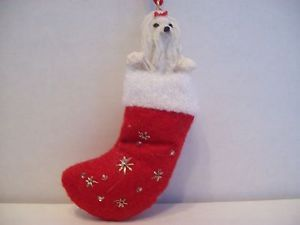 Holiday Christmas Pet Decor Knick Knack Statue Figurine Ornament Maltese