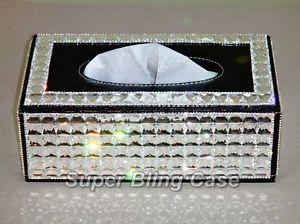 Super Bling Swarovski Rhinestone Crystal Leather Tissue Box Holder Home Decor