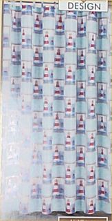 Nautical Shower Curtain Lighthouse Fabric Hooks Bathroom Home Decor New