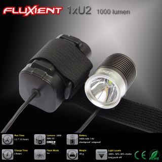 Fluxient 1000 Lumen 1XU2 LED Rechargeable Road or Mountain Bike Bicycle Light