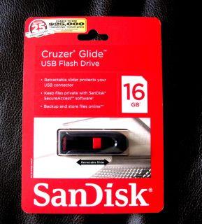 16GB SanDisk Cruzer Glide 16GB USB 2 0 Flash Drive in SEALED Manufacture Box