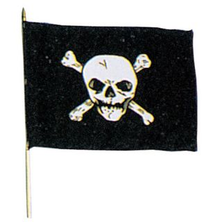 Black Jolly Roger Emblem Stick Flag New Office Home
