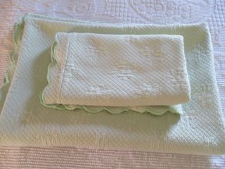 Pottery Barn Kids Matelasse Bedspread Sham Green Girls Bedding