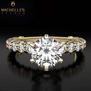 2 3 4 Carat H VVS Solitaire w Side Stones Diamond Promise Ring Yellow Gold