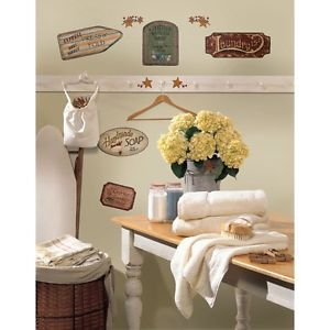 26 New Vintage Country Signs Wall Decals Laundry Bathroom Kitchen Stickers Decor