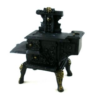 Dollhouse Miniature Kitchen Furniture Black Resin Wood Stove