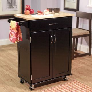 Kitchen Island Butcher Block Utility Cart Cabinet Table Wood Countertop Rolling