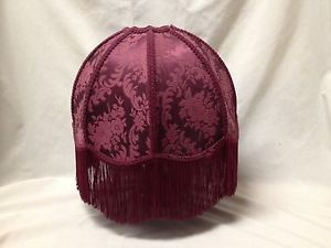 Victorian Style Floral Brocade Fabric Burgandy Table Lamp Shade