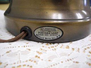 Vintage Antique Wood Brass Base Hurricane Table Lamp w Milk Glass Shade