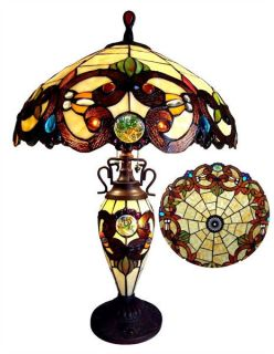 "Handcrafted Victorian Tiffany Style Stained Glass Table Lamp 18"" Shade Lit Base"