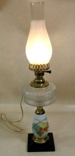 Hurricane Lamp Electric Frosted Clear Chimney Shade Pressed Glass Off White Base