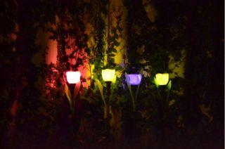 4 x Solar Power LED Tulip Garden Lights Outdoor Yard Path Way Landscape Flower