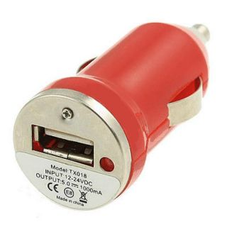 Mini Adaptador Cargador Mechero Coche Rojo USB for Sony Ericsson Xperia ST15i