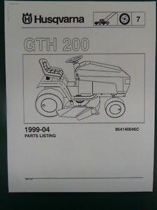 Husqvarna GTH 200 Lawn Garden Tractor Mower Parts List Service Manual 1999 04
