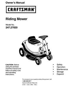 51  Craftsman Riding Mower Lawn Tractor Manuals