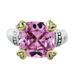 Judith Ripka Two Fontaine Linen Pink Crystal Heart Prong Ring