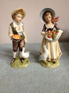 Set of 2 Lefton Porcelain Figurines Young Man Woman with The Ducks
