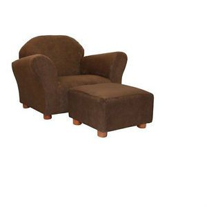 Furniture Chair w Microsuede Ottoman Footrest Living Room Brown Lounge Seat