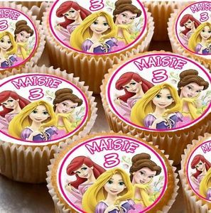 24 Personalised Disney Princess Rice Paper Cup Cake Fairy Cake Toppers X24