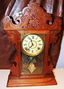 Antique E N Welch Kitchen Mantel Clock Gingerbread Mantle C 1880's Works