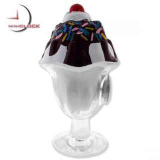 Mini Clock Miniature Clocks Ice Cream Sundae Treat Collectible Gift