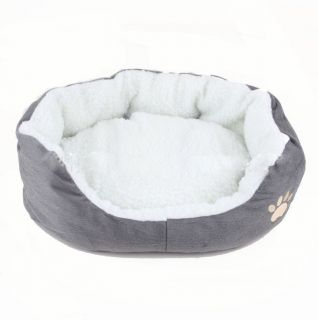 Gray Pets Bed Dog Puppy Cat Soft Warm Bed House Plush Cozy Nest Mat Pad Size M