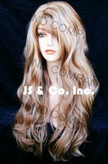 Extra Long Barely Wavy Layered Blonde Mix Wig with Full Bangs Hsjo 27 613