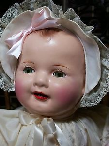 "Vintage Big 26"" Chubby Cheeks Composition Baby Mama Doll 26"" 1930'S"