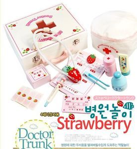 New Mother Garden Strawberry Series Play House Wooden Toy Medicine Cabinet Set