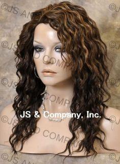 Human Hair Blend Long Wavy Brown Blonde Mix Wig Amazing