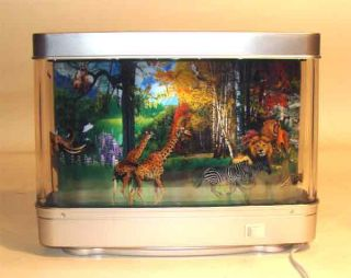 Jungle Animals Animated Moving Diorama Desk Lamp New