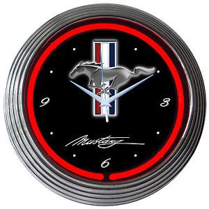 Neon Clock Sign Ford Mustang Muscle Car Garage Red Neon