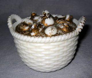 Peeps Chicks on Round Basket Chicken Nest Covered Dish Antique Milk Glass WSC