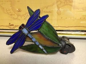 J J Peng Tiffany Style Stained Glass Dragonfly Night Light Lamp