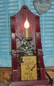 """Primitive Country Style Wooden Side Lamp Night Light """"You Light Up My Life"""""""
