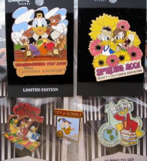 Disney 5 Pin Lot Duck Group Ludwig Donald Daisy w Chip Dale 2 DS 2 DCA 1984