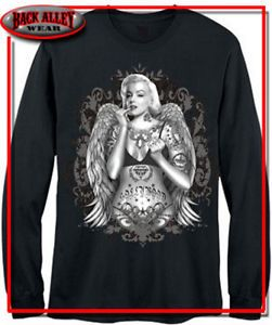 Marilyn Monroe Long Sleeve Shirt Vintage Hollywood Gangster M 3XL Tattoo Biker