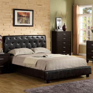 Concord Espresso Finish Leatherette Platform Bed Frame Set
