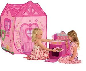 Girls Play Tent Shelter Canopy Pretend Play Indoor Outdoor Portable Set Kids New