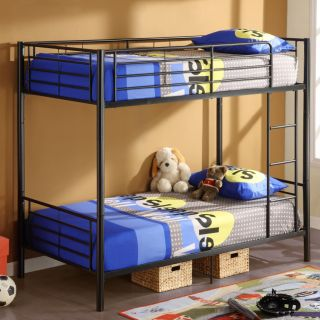 Black Metal Bunk Bed Frame Twin Over Twin Can Separate Into Two Beds
