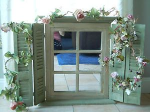 Decorative Shutter Mirror Hinged Wall Decor Shabby Country Garden