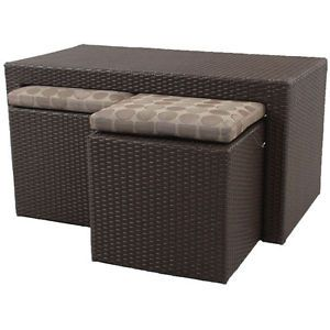 Resin Wicker Patio Set 2 Stools Ottomans 1 Coffee Table Seat Bench Furniture