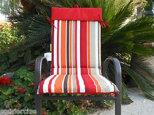 ... New 6 PC Red Stripe Sling Chair Cushion Set Patio Outdoor Reversible  Solid Pad ...