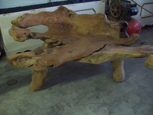 Large Solid Wooden Teak Root Garden Bench Carved Horse and Indian