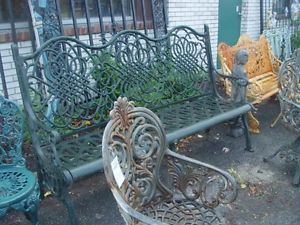 Large Cast Iron Heavy Victorian Garden Bench 4